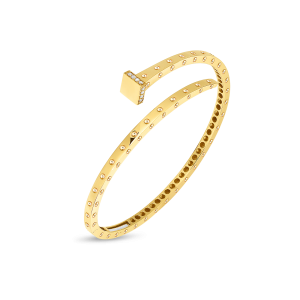 products Roberto Coin 18k yellow gold Slim Chiodo Bangle with Diamonds 8882182AYBAX