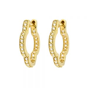 delicate small clover hoop yellow gold earrings 2