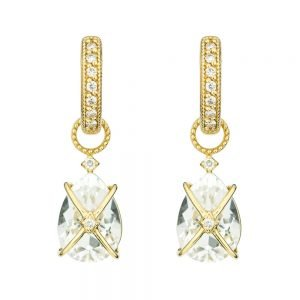 tiny criss cross wrapped pear stone white topaz yellow gold earring charms