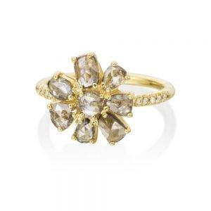 Rose Cut Champagne Diamond Flower Ring